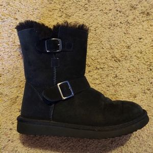 Fleece lined boots with buckles bear paw